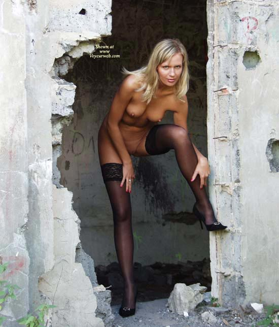 Pic #1 - Blonde Wife Standing Sexy In Rubbish - Blonde Hair, Heels, Stockings, Nude Amateur, Nude Wife, Sexy Face, Sexy Legs, Sexy Wife , Stockings Only, Mostly Nude, Black Heels, Thigh-high Black Stockings, Black High Heeled Shoes, Abandoned Building, Beautiful Sexy Face, Beautiful Legs With Heels And Stockings, Thigh High Stocking