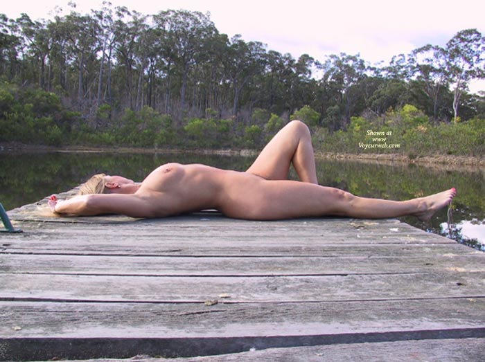 Pic #1 - Nude Reclining On Dock - Nude Outdoors, Side View , Nude Reclining On Dock, Outdoor Nude, Naked On A Dock, Side View, Sun Bathing, Nude Outside, Blonde Nude