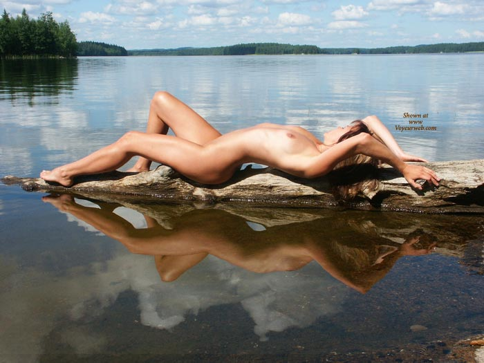 Pic #1 - Beautiful Scenery With Nude Girl - Naked Girl, Nude Amateur, Sexy Body, Sexy Figure, Sexy Legs , Naked On A Log, Glass Lake, Nice View, Slim And Wet, On The Lake, Lake Nymph, Reflection Of Perfection, Drift Wood, Perfect Natural View