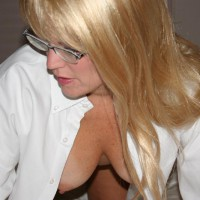 Shannon Xxoo - White Shirt 2 - Blonde Hair, Glasses, Hangers, Nipples