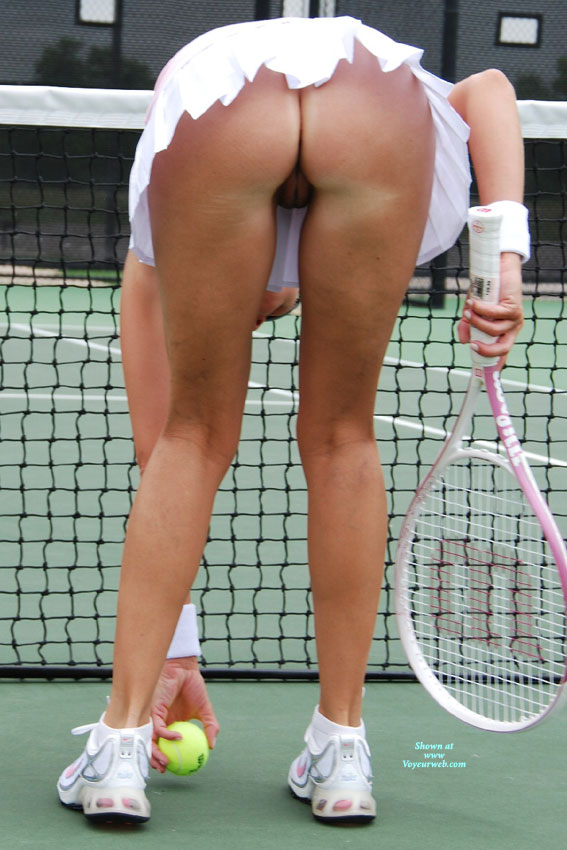 Pic #1 - Pantieless Tennis Pussy Upskirt - Shaved Pussy, Upskirt , Naked Pussy Visible From Under Skirt, White Mini Skirt, Bent Over, Playing Tennis, Tennis Skirt, Tennis Shoes, Upskirt No Panties, Sweat Bands, Wrist Bands, White Shoes
