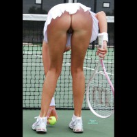 Pantieless Tennis Pussy Upskirt - Shaved Pussy, Upskirt , Naked Pussy Visible From Under Skirt, White Mini Skirt, Bent Over, Playing Tennis, Tennis Skirt, Tennis Shoes, Upskirt No Panties, Sweat Bands, Wrist Bands, White Shoes