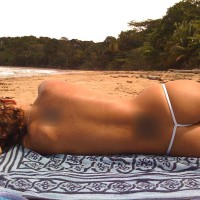 Nude Amateur:Sheer G String On The Beach