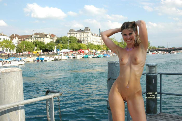 Pic #1 - Arms Up - Long Hair, Nude Outdoors, Small Tits , Arms Up, Shaved Nude Outdoors, Small Tits, Nude On The Pier, Long Blonde Hair, Tiny Tits, Navel Pierced