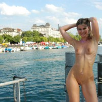 Arms Up - Long Hair, Nude Outdoors, Small Tits