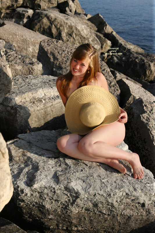 Pic #1 - Nude Girlfriend - Naked Girl, Nude Amateur, Sexy Face , My Hats Off To You, Pretty Smile, Shy On The Rocks, Teasing, Sitting On A Rock, Holding A Hat, Naked Girlfriend, Pin Up Model, Sexy Tease