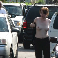 Topless Woman In Parking Lot - Exhibitionist, Nude In Public, Topless, Nude Amateur
