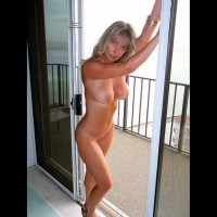 Nude Me on heels: Balcony View! - Big Tits, Blonde Hair, Blue Eyes, Milf, Topless, Hot Wife, Naked Wife, Nude Amateur, Nude Wife