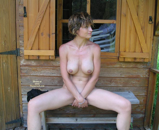 Pic #1 - Legs Open - Big Tits, Nudity , Legs Open, Sweet, Cabin Nudity, Covering Crotch, Big Tits