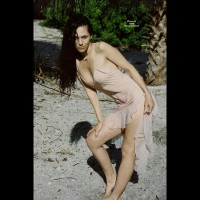 Girl Standing On Beach See Through Dress - Black Hair, Long Hair