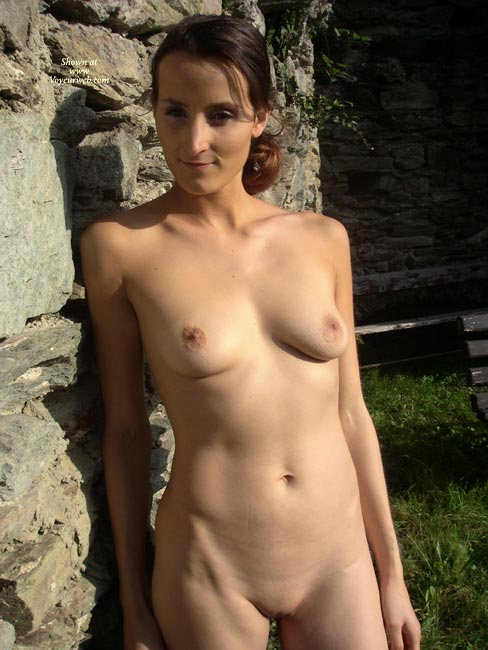 Pic #1 - Natural Beauty - Shaved Pussy, Bald Pussy, Nude Amateur , Standing Against Rock Wall, Frontal View On Rock, Man Eater, Full Body In Full Light, Nude In Evening Sun, Lean And Clean, Nude Outdoors, Shaved And A Smile