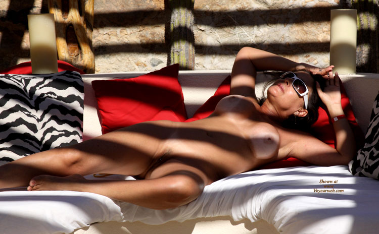 Pic #1 - Nude Brunette Getting A Zebra Tan - Blonde Hair, Brunette Hair, Milf, Nude Amateur , Esposed Vagina, Zebra's Light, White Breasts Againts Tanned Body, Reclining Nude In Shadow, Naked Tanning, Reclining Nude Under Ramada, Pierced Pussy In The Shade, Middle Aged Brunette Nude Tanning