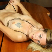 Nude Girl On Table Showing Bald Pussy - Blonde Hair, Blue Eyes, Shaved Pussy, Small Breasts, Small Tits, Bald Pussy, Naked Girl, Nude Amateur, Sexy Girlfriend