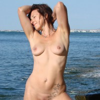 Nude Wife With Pierced Nipples On Public Beach - Pierced Nipples, Nude Amateur, Nude Wife