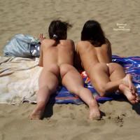 Bubbly Beach Buns - Brunette Hair, Dark Hair, Long Hair, Beach Voyeur