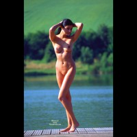 Standing Nude On Pier Pulling Hair Back With Both Hands - Black Hair, Brunette Hair, Landing Strip, Long Hair, Long Legs, Perfect Tits, Shaved Pussy, Naked Wife, Nude Amateur, Nude Wife