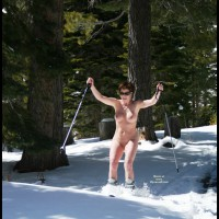Cheri Skiing Naked