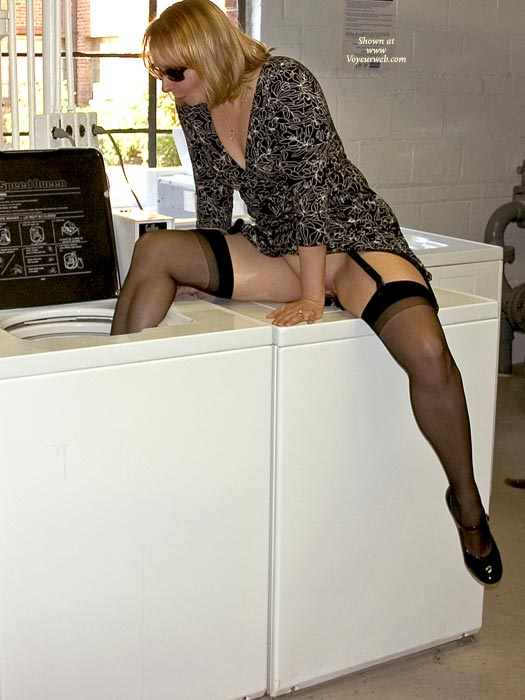 Pic #1 - Laundry Day - Milf, Stockings , Laundry Day, Acting Silly, Black Stockings, Laundry Room, Riding The Whirlpool, Milf