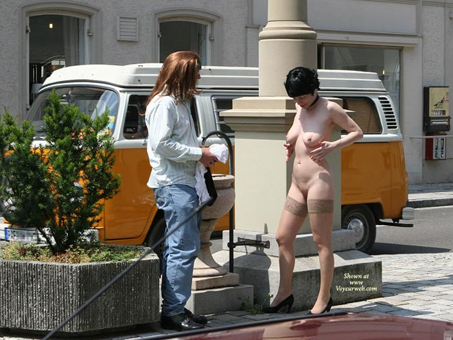 Pic #1 - Nude In Public - Nude In Public , Nude In Public, Wearing Just Thigh Highs On Street, Twins, In High Heels And Stockings Only, Nude Public Street Talking To Stranger, Public Street