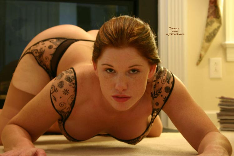 Pic #1 - Crouching On All Fours - Garter Belt, Hanging Tits, Hat, On All Fours, Red Hair, Stockings , Crouching On All Fours, Lacy Lingerie, Cat Pose, Hanging Breasts, Wfi From The Front, Garter Belt, Stockings, Red Hair, Black Body Suit, Black Lace Non Nude, Cute Red Hat