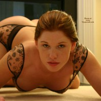 Crouching On All Fours - Garter Belt, Hanging Tits, Hat, On All Fours, Red Hair, Stockings