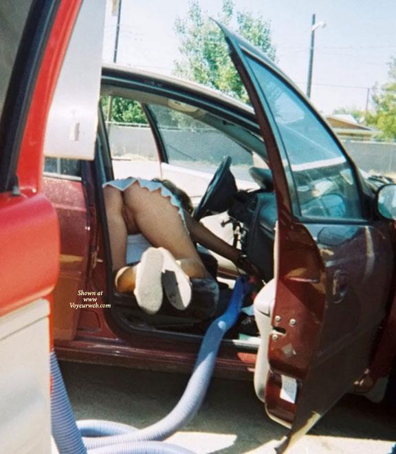 Public upskirt mature carwash voyeur