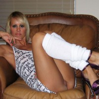 Blonde Sitting In Chair Showing Her Pussy - Blonde Hair, Flashing, Heels, Long Legs