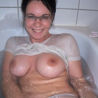 Wet T-shirt - Brunette Hair, Glasses, Huge Tits