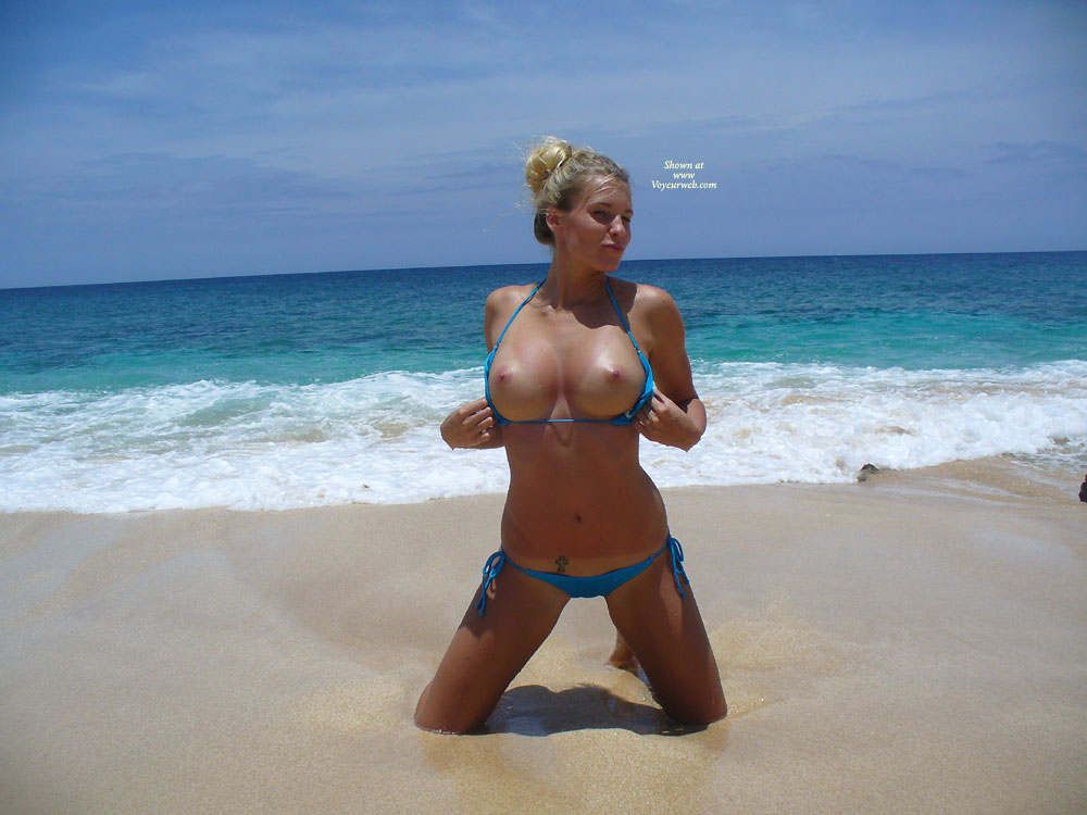 Busty Beach Babe - Big Tits, Flashing Tits, Flashing, Nude Amateur , Blue Accessories, Kneeling In The Sand, Flashing Big Tits, Beach Flash, Busting Breakers, Bikini Tops, Beach Sand, Open Invitation, Holding Her Bikini Top Open, Tits For Sucking