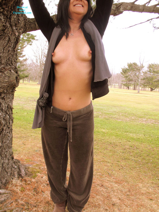 Pic #1 - Carrie And A Cool Winters Day , Hello Again!  It Sure Has Been A While Since [[Carrie]] | Carrie And I Have Been Able To Get Out And Take Some Photo's.  As You Will See By The Photo's, A Nice Cool Breeze Made Her Nipples Stand Out Just For You.