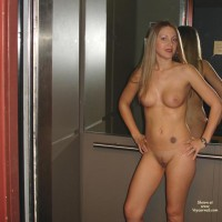 Nude In Elevator - Blonde Hair, Full Nude, Nude In Elevator, Tattoo