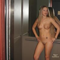 Nude In Elevator - Blonde Hair, Full Nude, Nude In Elevator, Tattoo