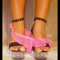 Pink Panty On Sexy High Heels - Heels