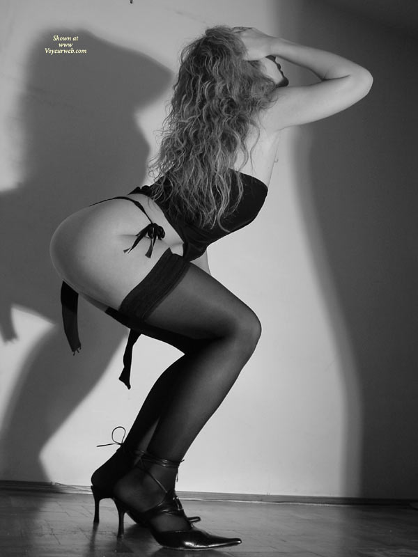 Pic #1 - Black And White - Bend Over, Black And White, Round Ass, Stockings , Black And White, Black Stockings, Bending Over, Round Ass, Long Curly Hair