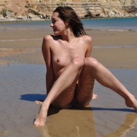 Nude On The Beach With Knees Up - Small Tits, Spread Legs, Nude Amateur