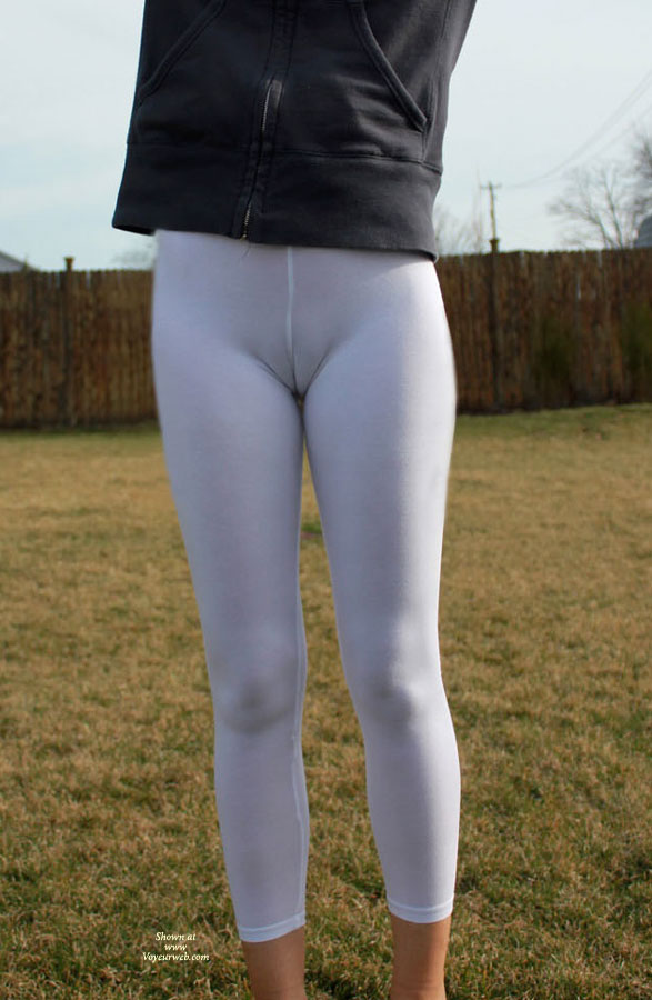 Pic #1 - Wife Lycra Cameltoe - Camel Toe , Toe Covered By Lycra, Amateur's Cameltoe, Camel Toe Tights, White Pants, Ghostly Twolly, Seamed Crotch, White Camel Toe, Camel Toe In White Tights., Black Jacket