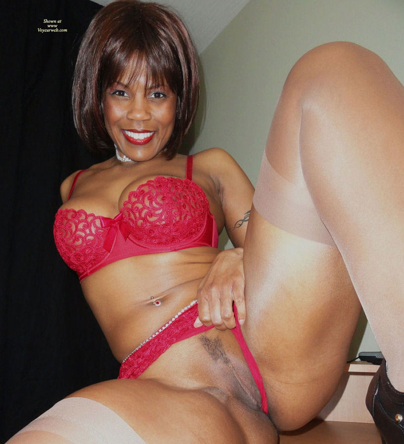 Pic #1 - Black Beauty Exposing Love Box - Landing Strip , Chocolate Pussy, Red Lingerie, White Stockings, Pulling Aside Her Pussy Hammock, Shaven Twolly, Wife Photos, Red Lingerie, Happy Snatch Flash, Crotch Flash