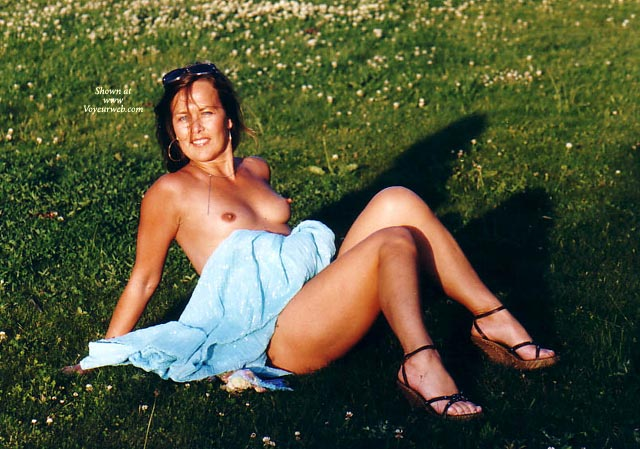 Pic #1 - Outdoors - Erect Nipples, Nude Outdoors , Outdoors, Topless On A Grassy Field, Nude On Grass, Erect Nipples