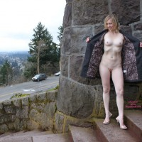 Open Coat Flash - Blonde Hair, Exhibitionist, Flashing, Shaved Pussy, Small Breasts, Nude Amateur