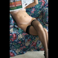 Nude Reading Newspaper - Shaved Pussy, Stockings