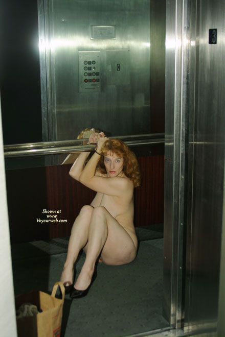 Pic #1 - Handcuffed To Railing - Nude In Public, Redhead, Sexy Shoes , Handcuffed To Railing, Bound In Public, Black Shoes, Bound In Elevator, Curvy Redhead, Cuffed