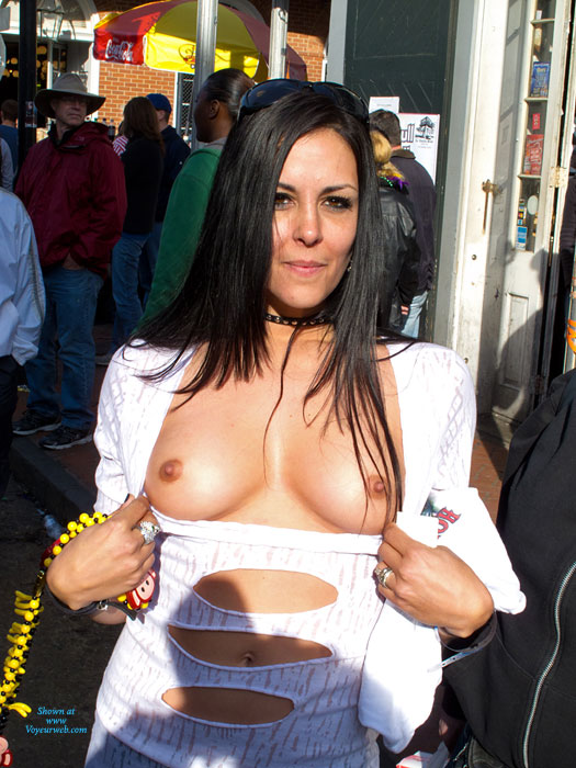 Pic #1 - Flashing Tits - Black Hair, Flashing , White Top, Cute Tits, Pretty Brown Eyes And Tits, Slim And Fit Body With Tit Nip, Tan Beauty, Mardi Gras Tits, Flashin Outside, Festival Voyeur, Tan Titties, Nice Boobies For Holding, Dark Haired Exposing, Long Dark Haired Flasher
