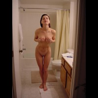 Dressed With Hand Bra - Brunette Hair, Milf, Shaved Pussy, Nude Amateur, Nude Wife
