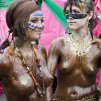 Fremont Fair - Chocolate Covered Cuties Pt. 1 , This Will Come In Two Parts Since I Have Several Great Pics Of These Chicks. This Is From The Fremont Fair In Seattle That Takes Place Every Year In June During The Summer Solstice Weekend. The First Day Of The Fair Starts With A Parade And Lots Of Naked People. Show Me Some Love With The Voting On This One. I Think You Will Like This.
