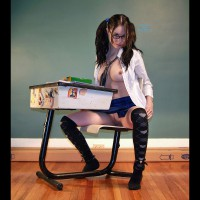 Topless Spread Leg Schoolgirl Sitting At Desk - Landing Strip, Spread Legs, Topless