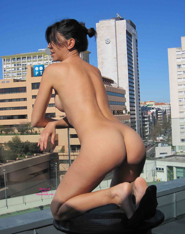 Nude Brunette Kneeling On Rooftop - Brunette Hair, Nude Amateur, Nude Wife, Sexy Ass , On Glass Balcony, Public Flash, Nudity On Top Of It All, Rooftop Showoff, On Table Top, City Ass, Raven Haired Tight Bod