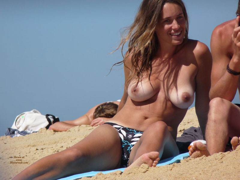 Topless Beach Big Tits Brunette Hair Natural Tits Tan Lines Topless