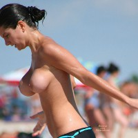 Nonproportional Tits - Big Tits, Black Hair, Huge Tits, Topless Beach, Topless, Beach Tits, Beach Voyeur