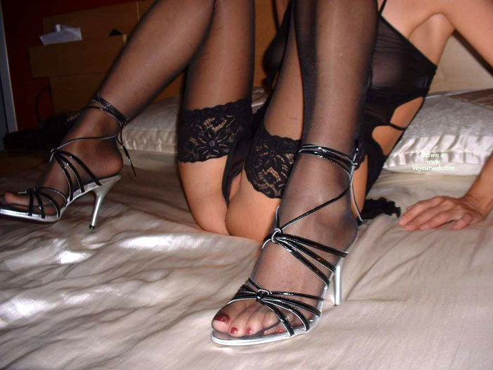 Pic #1 - Sitting On The Bed With Her Sheer Body Suit,stockings And Heels - Heels, Shaved Pussy, Spread Legs, Stockings , Black Stocking, Sheer Lace Stockings, Silver And Black High Heels, Thigh High Stockings, Kitty Floss, Peeking Shaved Pussy, Lace Stockings, Close Up, Strappy Heels, Black Panties, Thin Tight Body, Black Lace Stockings, Sitting On A Bed