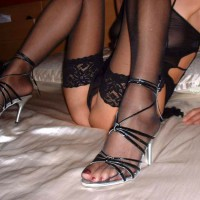 Sitting On The Bed With Her Sheer Body Suit,stockings And Heels - Heels, Shaved Pussy, Spread Legs, Stockings